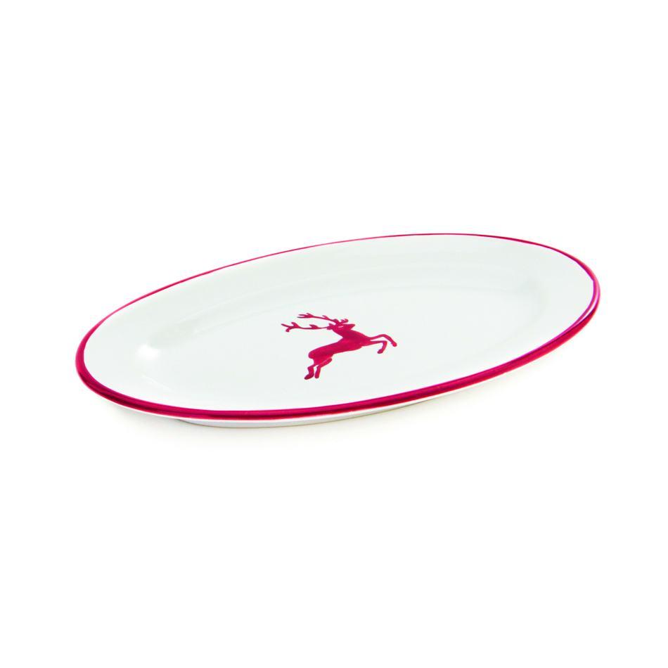 Gmundner Keramik Rubinroter Hirsch Platte oval mit Fahne 21x14cm