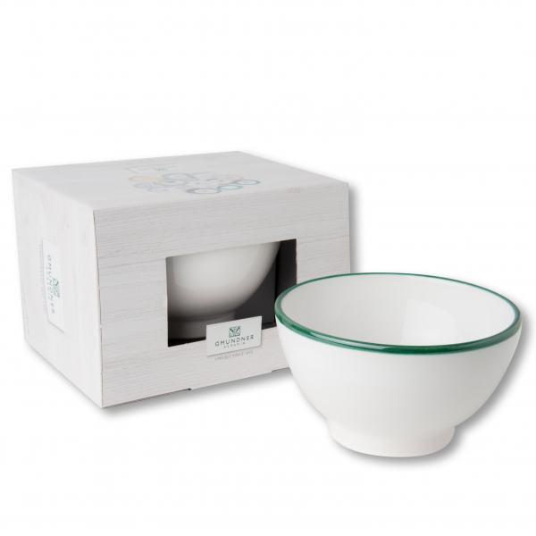 Gmundner Keramik Grüner Rand Müslischale groß 0.4 L