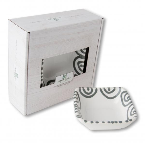 Gmundner Keramik Graugeflammt. Schälchen quadratisch (9 x 9 cm)