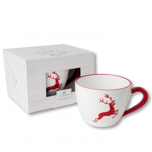 Gmundner Keramik Rubinroter Hirsch Teetasse Maxima 0.4 L im Karton