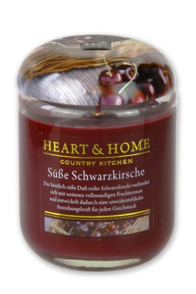 Heart & Home Duftkerze klein Süße Schwarzkirsche 110gr