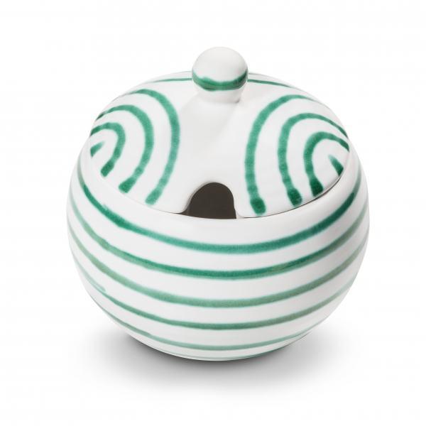 Gmundner Keramik Grüngeflammt Zuckerdose mit Ausschnitt Ø 10cm