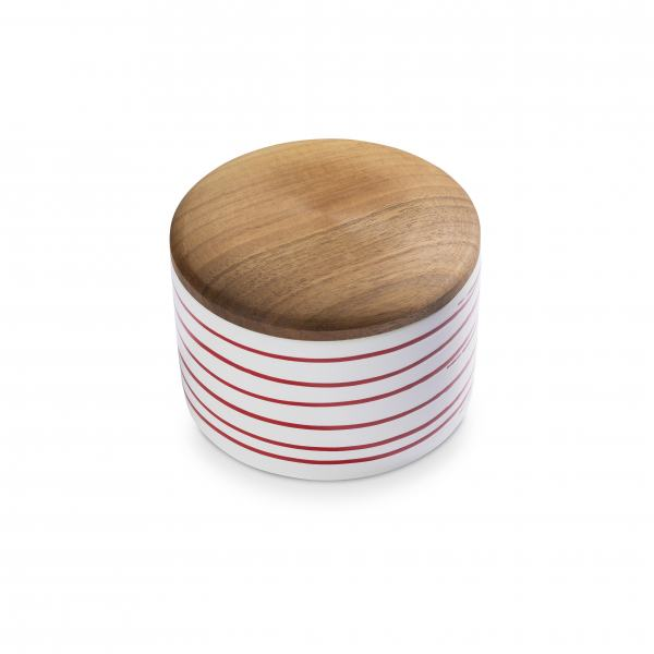 Gmundner Keramik Rotgeflammt Vorratsdose mit Holzdeckel H. 9cm