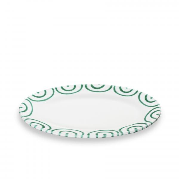 Gmundner Keramik Grüngeflammt Platte Oval mit Fahne 21x14cm