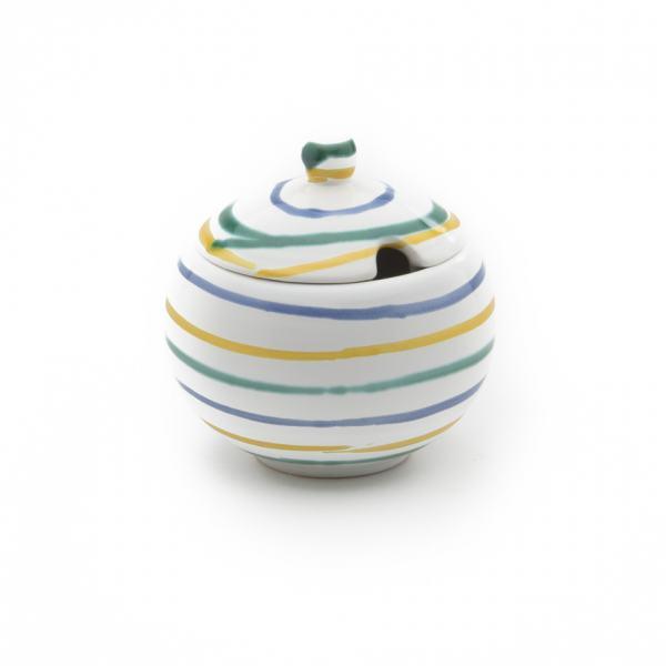 Gmundner Keramik Buntgeflammt Zuckerdose mit Ausschnitt (Ø 10cm)