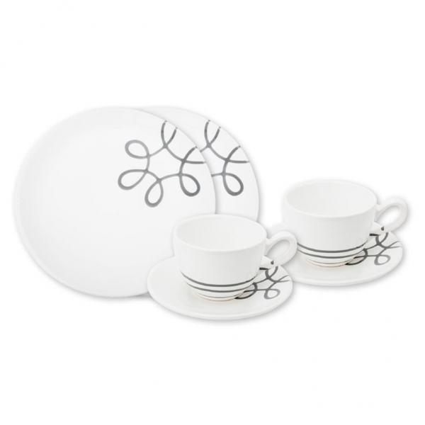 Gmundner Keramik Pur Geflammt Grau Breakfast for two Classic