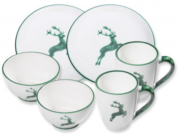 Gmundner Keramik Grüner Hirsch Hüttenfrühstück Cup für 2