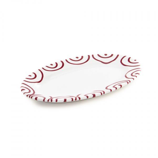 Gmundner Keramik Rotgeflammt Platte oval mit Fahne 21x14cm