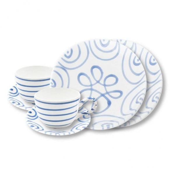 Gmundner Keramik Blaugeflammt Breakfast for two Classic