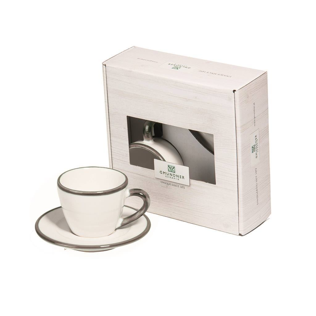 Gmundner Keramik Grauer Rand Espresso fpr you Gourmet