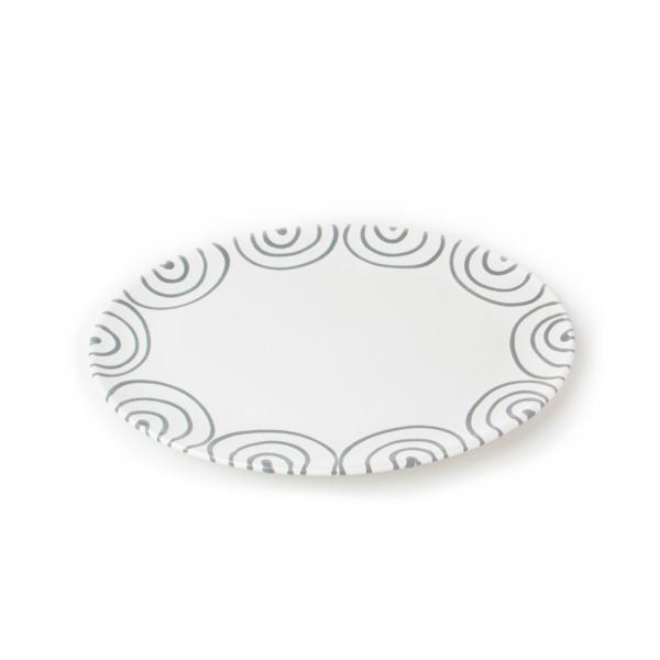 Gmundner Keramik Graugeflammt Platte oval 28x21cm