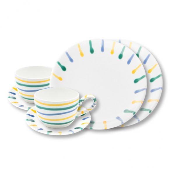 Gmundner Keramik Buntgeflammt Breakfast for two Classic