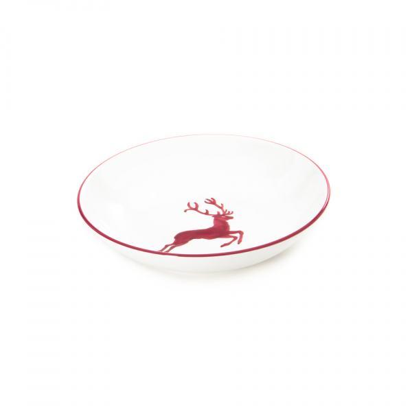 Gmundner Keramik Bordeauxroter Hirsch Suppenteller Cup Ø 20cm