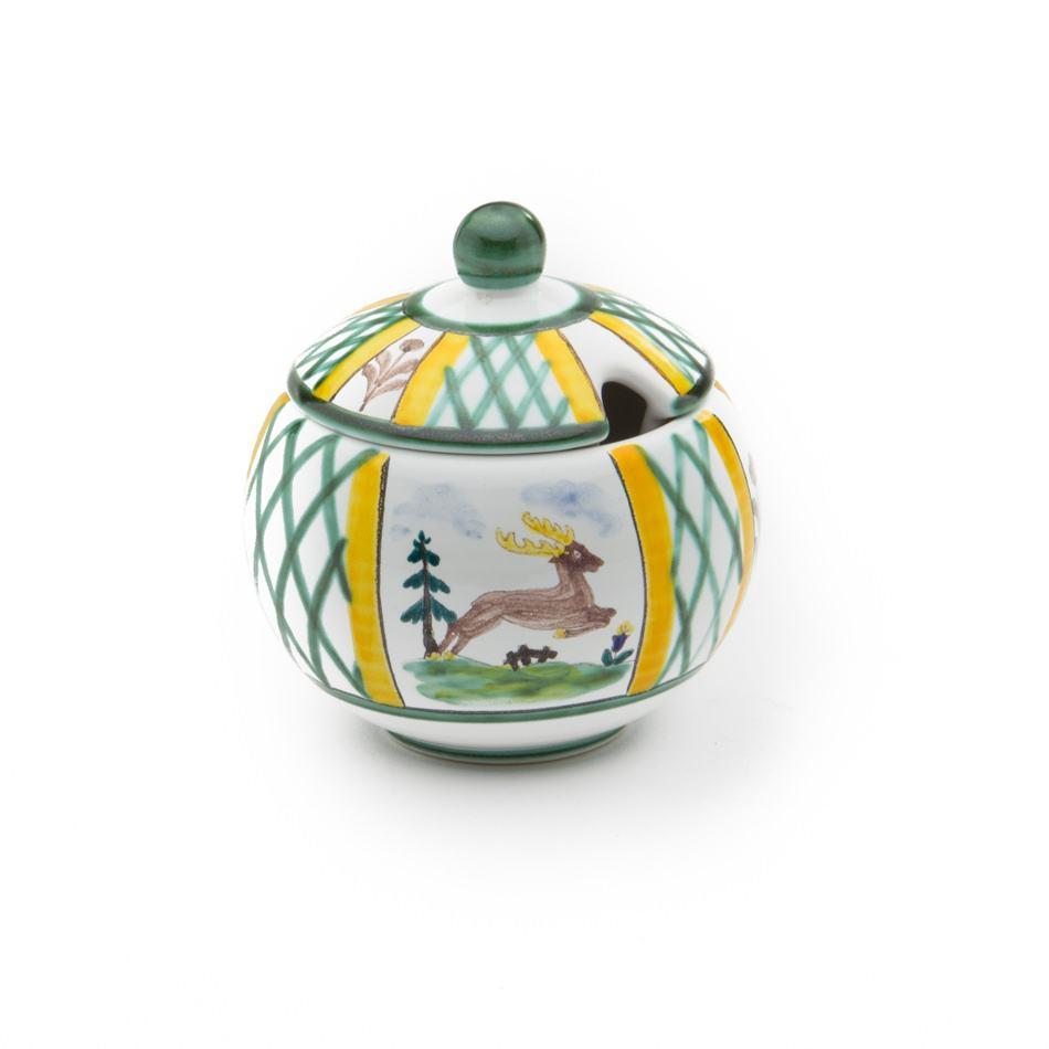 Gmundner Keramik Jagd Zuckerdose mit Ausschnitt Ø 10cm