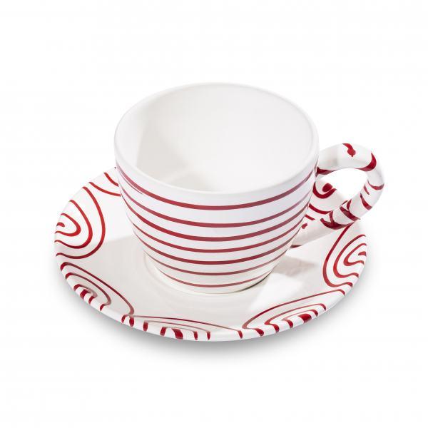 Gmundner Keramik Rotgeflammt Teetasse Maxima mit Unterteller
