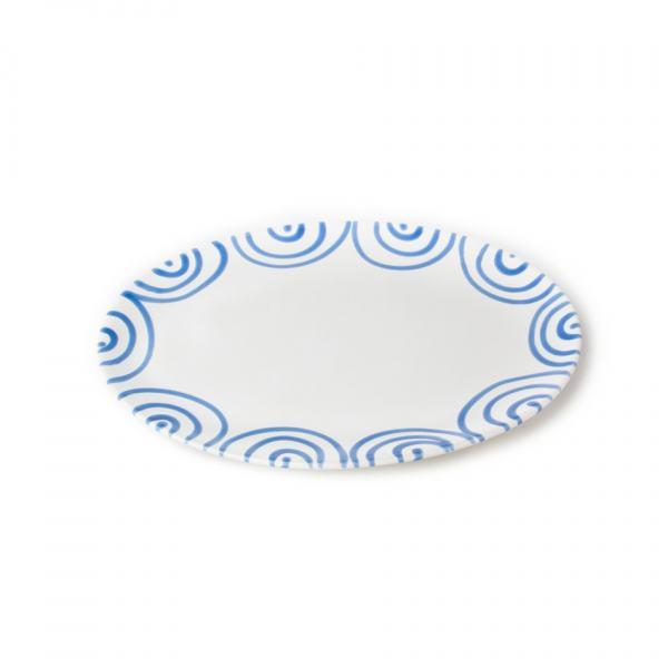 Gmundner Keramik Blaugeflammt Platte oval (28x21cm)