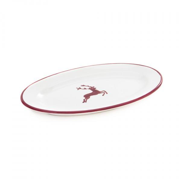 Gmundner Keramik Bordeauxroter Hirsch Platte oval mit Fahne