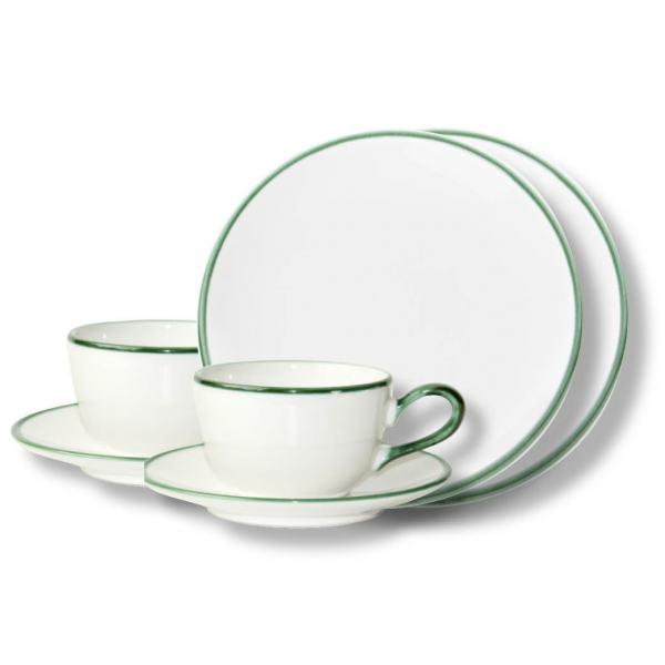 Gmundner Keramik Grüner Rand Breakfast for two Classic