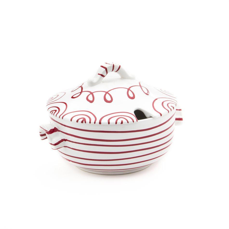 Gmundner Keramik Rotgeflammt Suppentopf glatt 2L