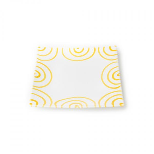 Gmundner Keramik Gelbgeflammt. Teller/Dessert
