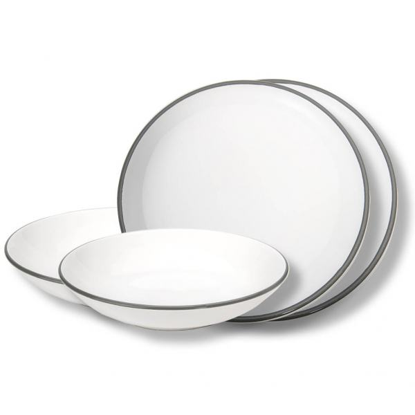 Gmundner Keramik Grauer Rand Dinner for two Classic