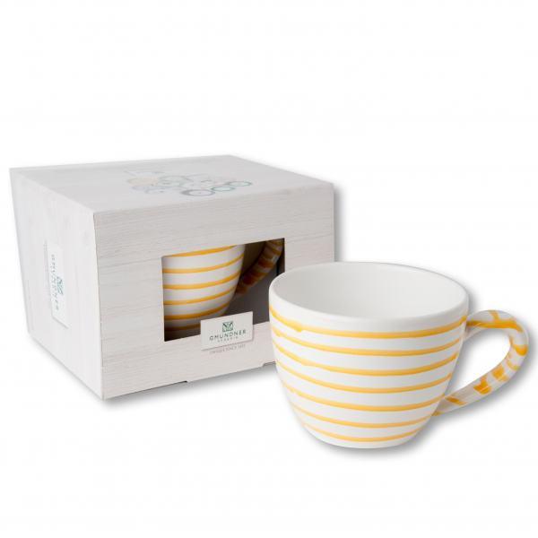 Gmundner Keramik Gelbgeflammt Teetasse Maxima 0.4 L im Karton