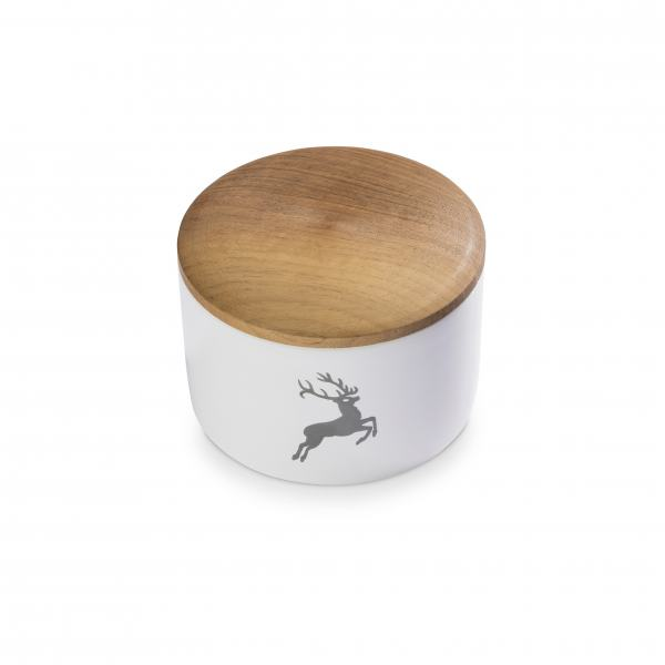 Gmundner Keramik Grauer Hirsch Vorratsdose mit Holzdeckel H. 9cm