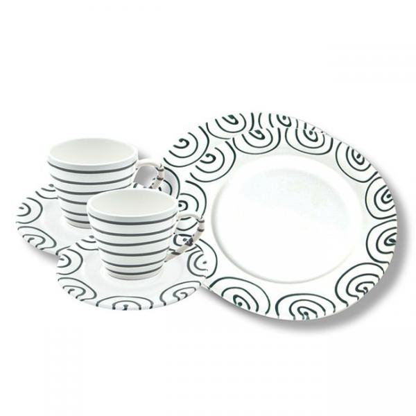 Gmundner Keramik Graugeflammt Breakfast for two Gourmet