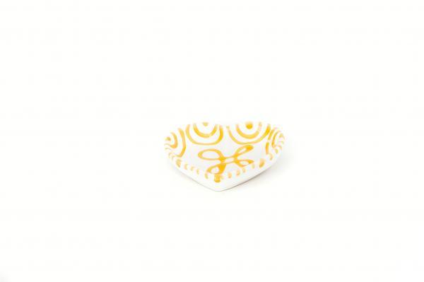 Gmundner Keramik Gelbgeflammt Herzschale (L:10cm)