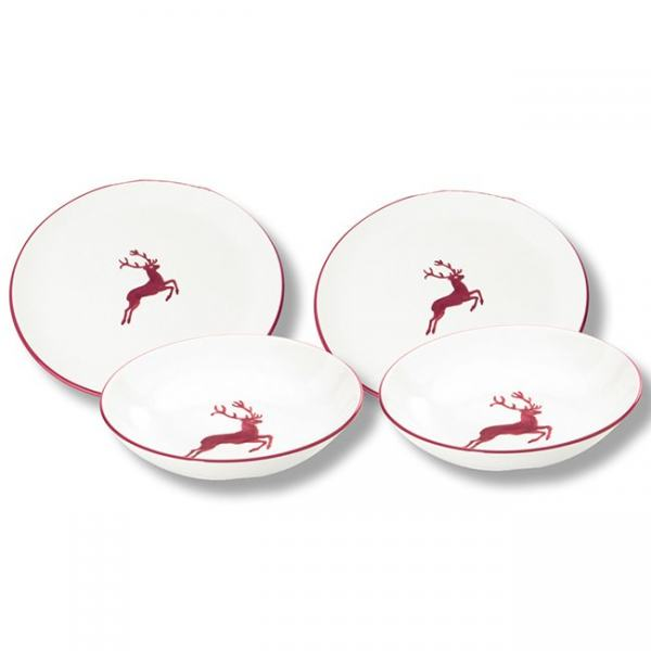 Gmundner Keramik Bordeauxroter Hirsch Dinner for two Classic