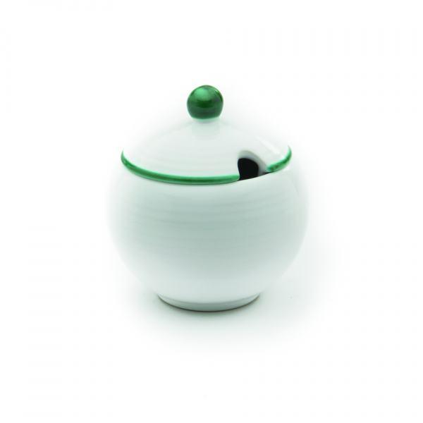 Gmundner Keramik Grüner Rand Zuckerdose mit Ausschnitt (Ø 10cm)