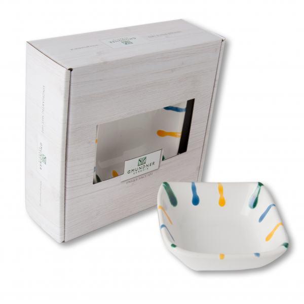 Gmundner Keramik Buntgeflammt. Schälchen quadratisch 9 x 9 cm