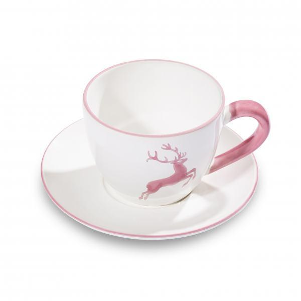 Gmundner Keramik Rosa Hirsch Teetasse Maxima mit Unterteller