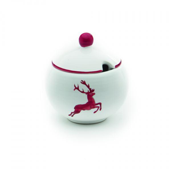Gmundner Keramik Rubinroter Hirsch Zuckerd. mit Ausschnitt (Ø 10cm)