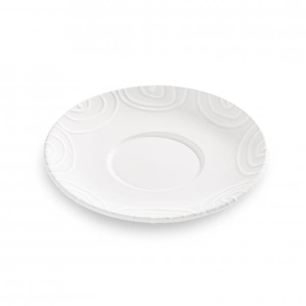 Gmundner Keramik Weißgeflammt Unterteller Teetasse Maxima Ø18cm