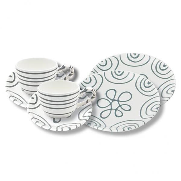 Gmundner Keramik Graugeflammt Breakfast for two Classic