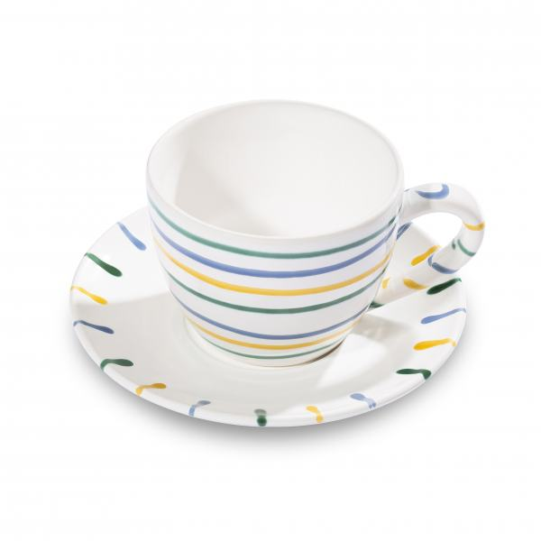 Gmundner Keramik Buntgeflammt Teetasse Maxima mit Unterteller