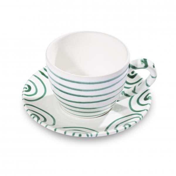 Gmundner Keramik Grüngeflammt Teetasse Maxima mit Unterteller