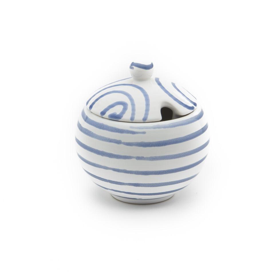 Gmundner Keramik Blaugeflammt Zuckerdose mit Ausschnitt Ø 10cm