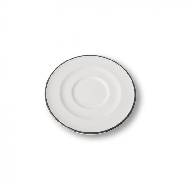 Gmundner Keramik Grauer Rand Unterteller Cappuccino Gourmet 14cm