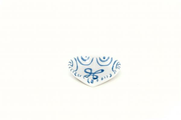 Gmundner Keramik Blaugeflammt Herzschale (L:10cm)