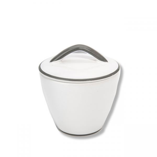 Gmundner Keramik Grauer Rand Zuckerdose Gourmet 9cm