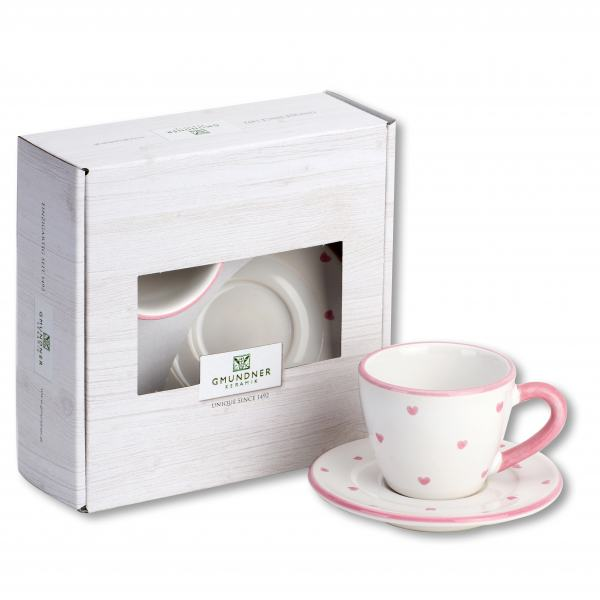 Gmundner Keramik Herzerl Rosa Espresso for you Gourmet Set