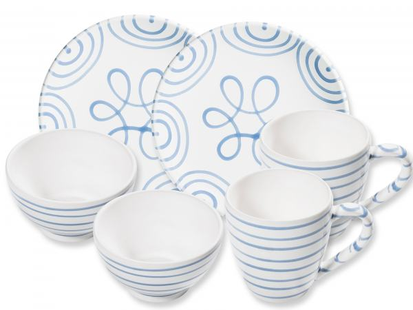 Gmundner Keramik Blaugeflammt Hüttenfrühstück Cup für 2