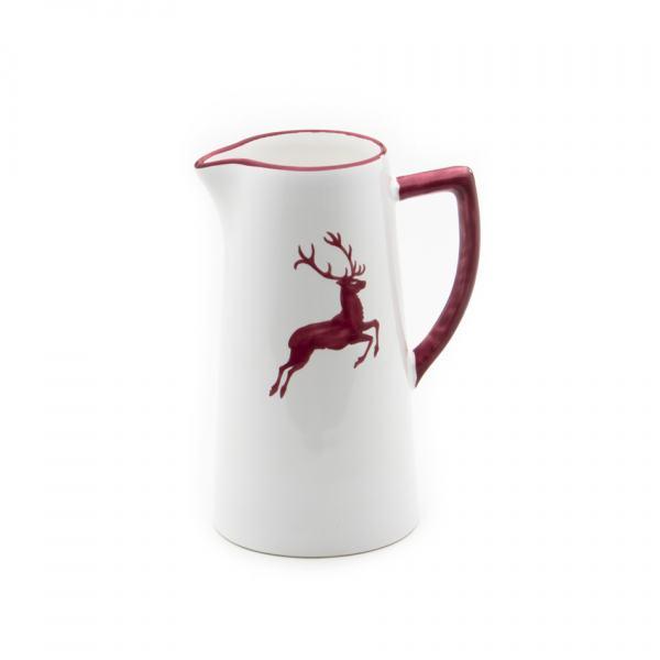 Gmundner Keramik Bordeauxroter Hirsch Wasserkrug 0.7L
