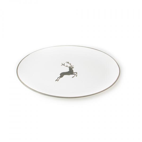 Gmundner Keramik Grauer Hirsch Platte oval (28x21cm)