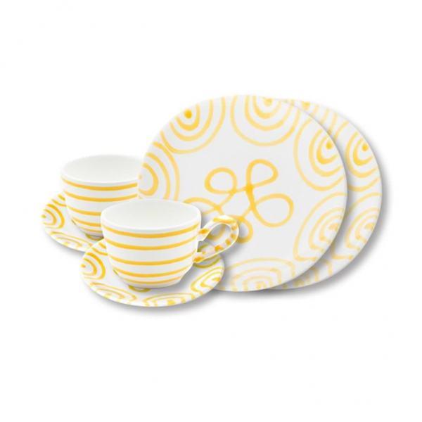 Gmundner Keramik Gelbgeflammt Breakfast for two Classic