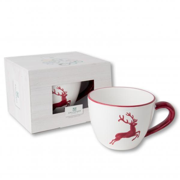 Gmundner Keramik Bordeauxroter Hirsch Teetasse Maxima 0.4 L im