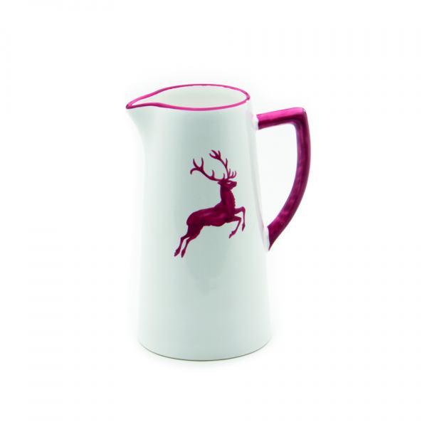 Gmundner Keramik Rubinroter Hirsch Wasserkrug 1.2L