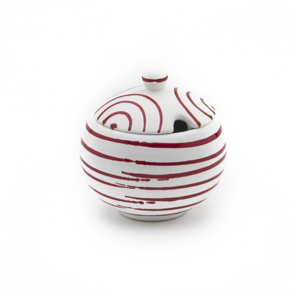 Gmundner Keramik Rotgeflammt Zuckerdose mit Ausschnitt Ø 10cm